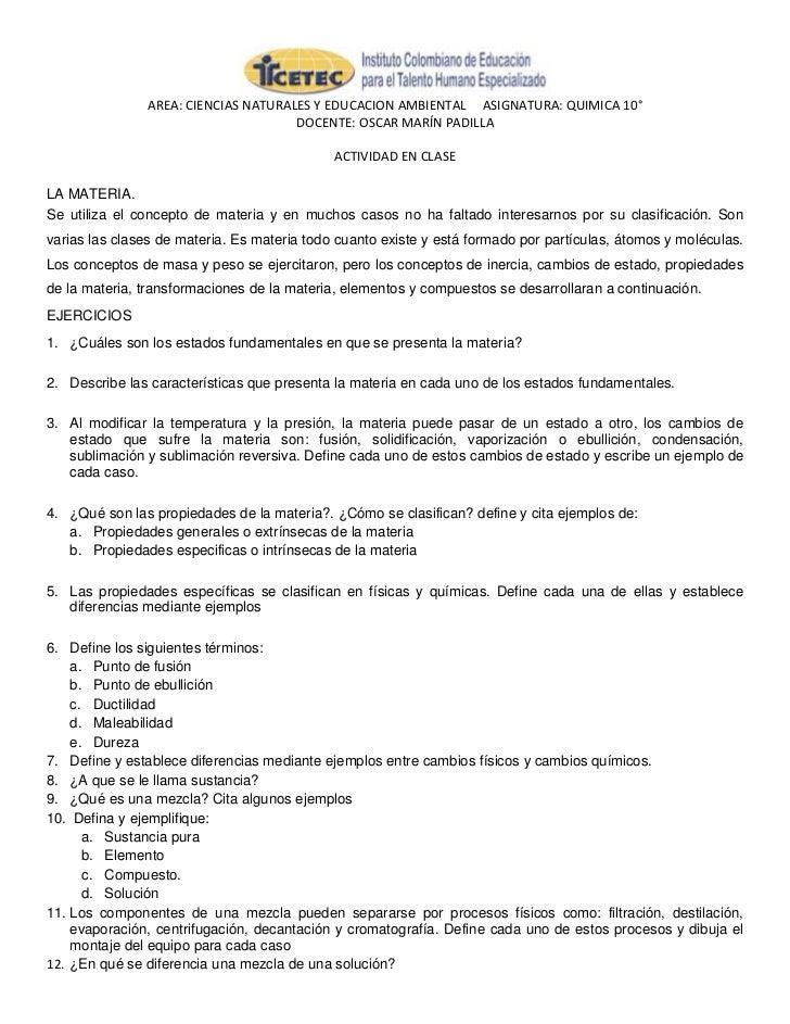 AREA: CIENCIAS NATURALES Y EDUCACION AMBIENTAL ASIGNATURA: QUIMICA 10°                                     DOCENTE: OSCAR ...