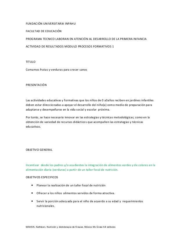 FUNDACIÓN UNIVERSITARIA INPAHUFACULTAD DE EDUCACIÓNPROGRAMA TECNICO LABORAN EN ATENCIÓN AL DESARROLLO DE LA PRIMERA INFANC...