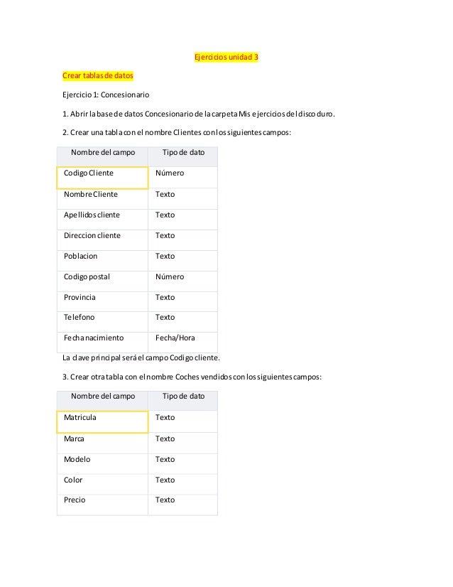 Ejercicios unidad 3  Crear tablas de datos  Ejercicio 1: Concesionario  1. Abrir la base de datos Concesionario de la carp...