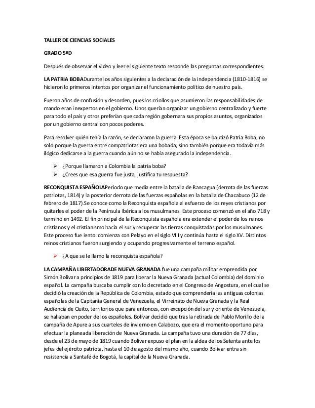 TALLER DE CIENCIAS SOCIALESGRADO 5ºDDespués de observar el video y leer el siguiente texto responde las preguntas correspo...