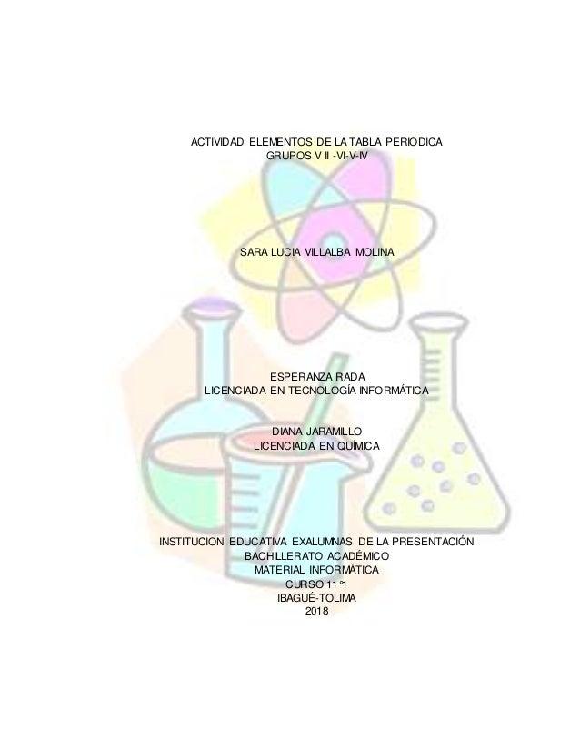 Actividad elementos de la tabla periodica actividad elementos de la tabla periodica grupos v ii vi v iv sara urtaz Choice Image