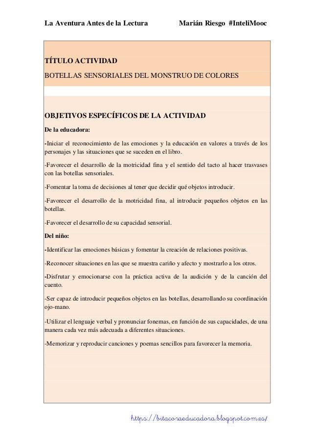 La Aventura Antes de la Lectura Marián Riesgo #InteliMooc https://bitacoraeducadora.blogspot.com.es/ TÍTULO ACTIVIDAD BOTE...