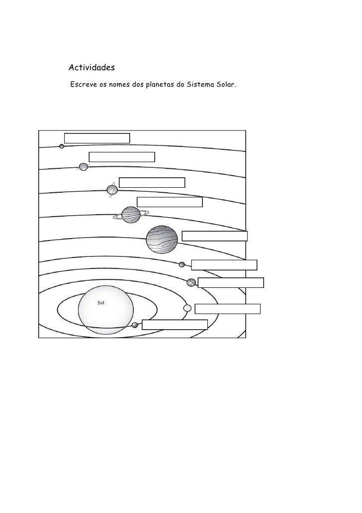Actividades Escreve os nomes dos planetas do Sistema Solar.            Sol