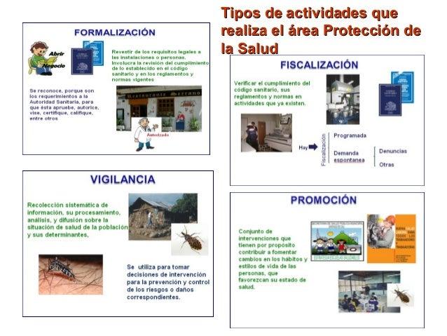 Tipos de actividades queTipos de actividades que realiza el área Protección derealiza el área Protección de la Saludla Sal...