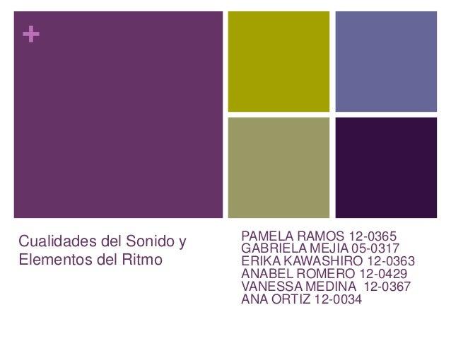 + Cualidades del Sonido y Elementos del Ritmo PAMELA RAMOS 12-0365 GABRIELA MEJIA 05-0317 ERIKA KAWASHIRO 12-0363 ANABEL R...
