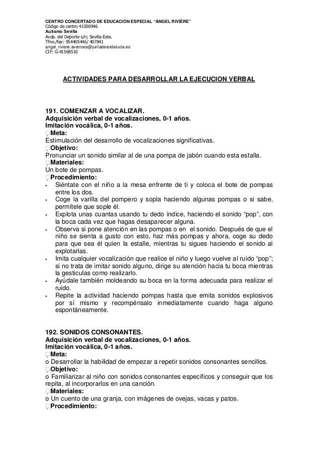 """CENTRO CONCERTADO DE EDUCACIÓN ESPECIAL """"ÁNGEL RIVIÈRE"""" Código de centro 41000946 Autismo Sevilla Avda. del Deporte s/n; S..."""