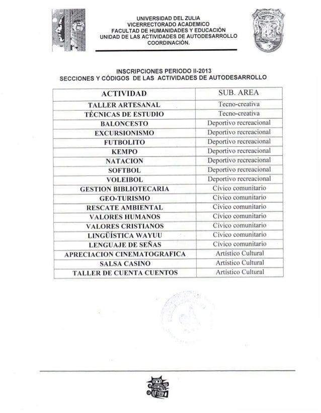 Inscripción de las actividades de Autodesarrollo II-2013