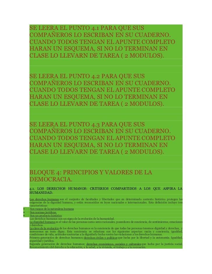 SE LEERA EL PUNTO 4.1 PARA QUE SUS    COMPAÑEROS LO ESCRIBAN EN SU CUADERNO.    CUANDO TODOS TENGAN EL APUNTE COMPLETO    ...