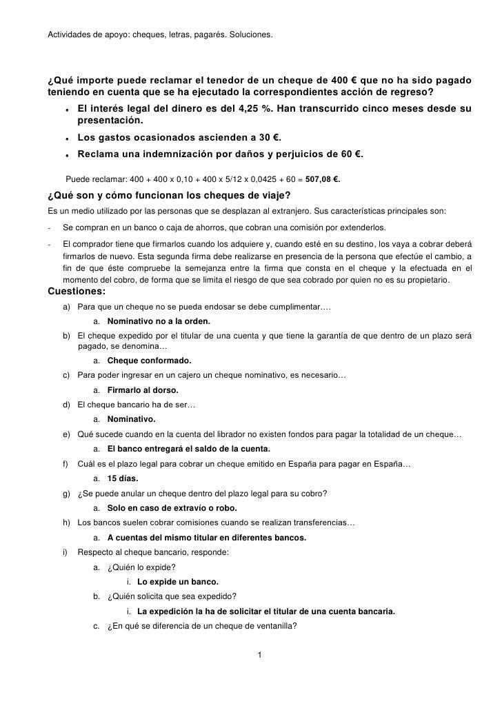 Actividades cheques letras otros soluciones for Solicitud de chequera