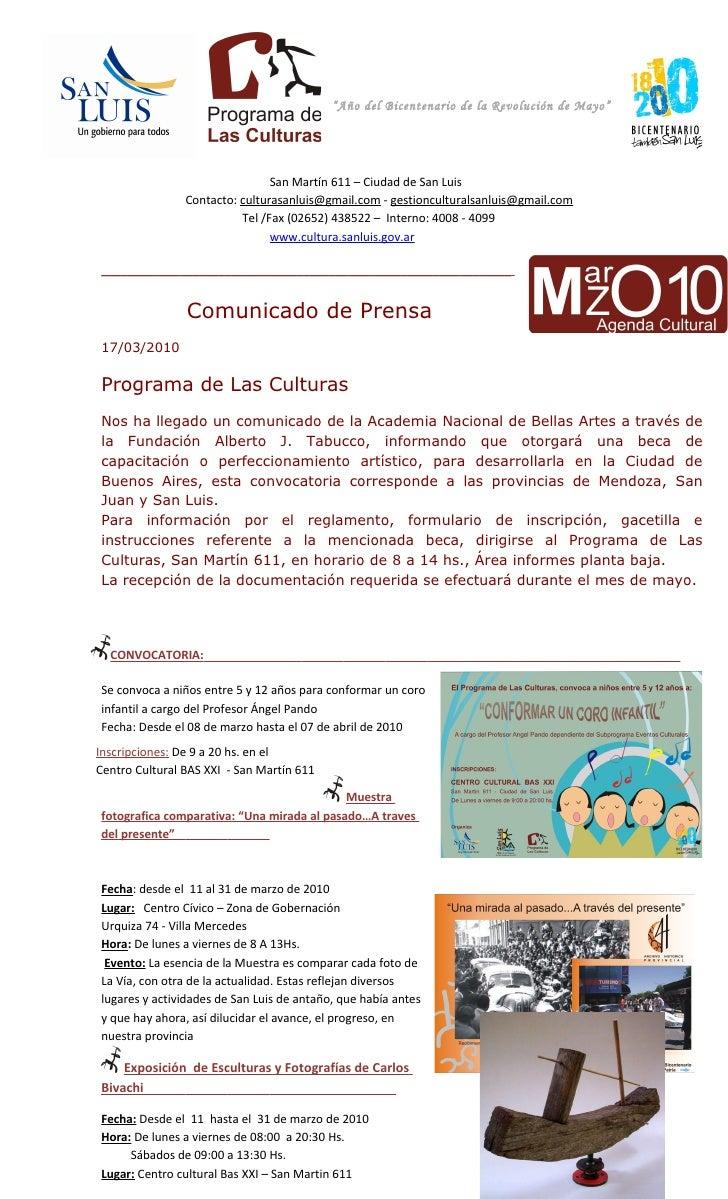 """""""Año del Bicentenario de la Revolución de Mayo""""                                     San Martín 611 – Ciudad de San Luis   ..."""