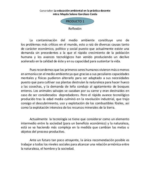 Curso-taller: La educación ambiental en la práctica docente mtra: Mayda Selene Garcilazo Cerda PRODUCTO 1 Reflexión La con...