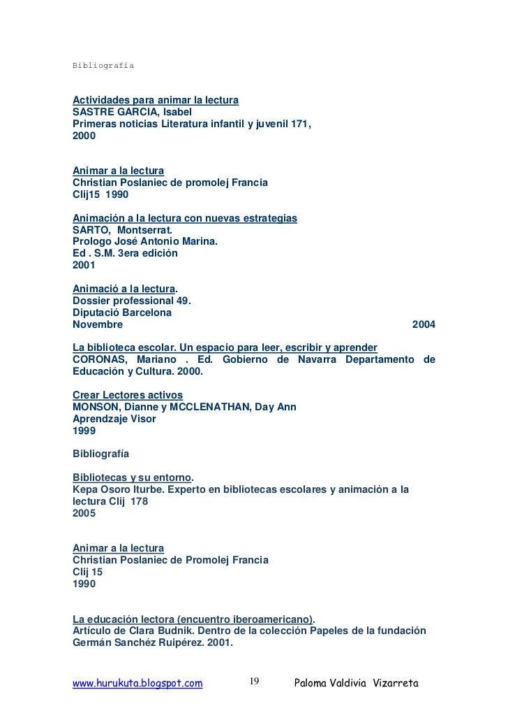 Bibliografía    Actividades para animar la lectura SASTRE GARCIA, Isabel Primeras noticias Literatura infantil y juvenil 1...