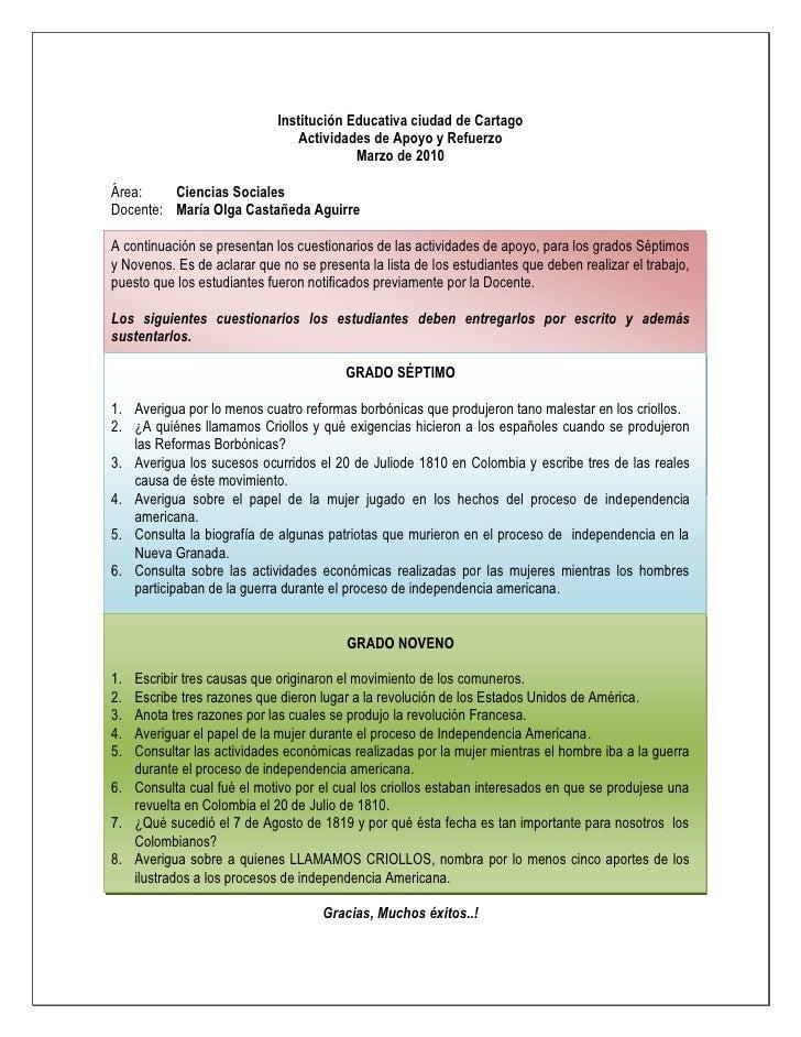 Institución Educativa ciudad de Cartago<br />Actividades de Apoyo y Refuerzo<br />Marzo de 2010<br />Área:  Ciencias Socia...