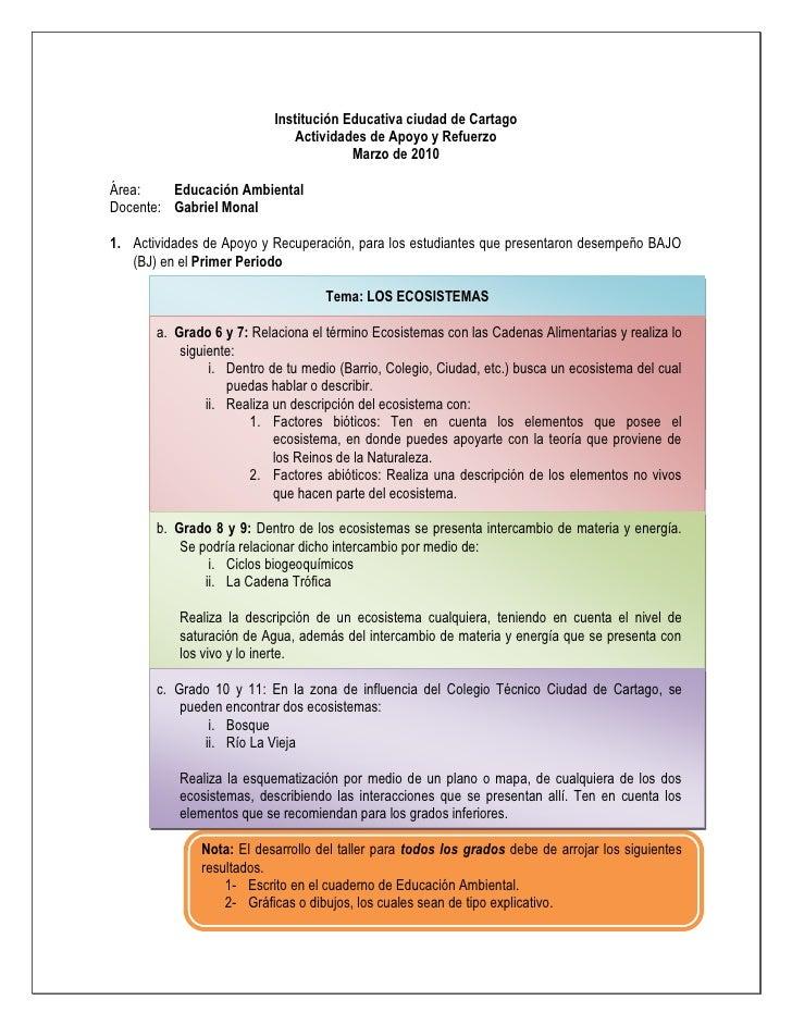 Institución Educativa ciudad de Cartago<br />Actividades de Apoyo y Refuerzo<br />Marzo de 2010<br />Área:  Educación Ambi...