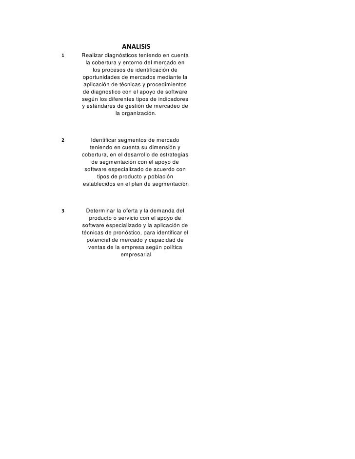 ANALISIS 1   Realizar diagnósticos teniendo en cuenta      la cobertura y entorno del mercado en         los procesos de i...
