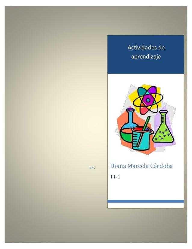 Actividades de aprendizaje Diana Marcela Córdoba 11-1 ens