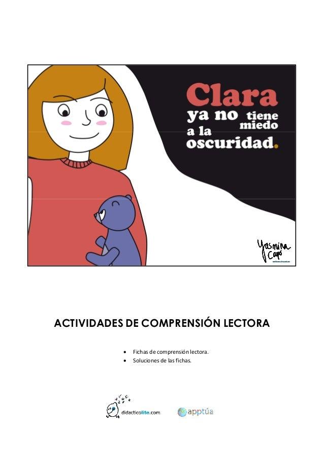 ACTIVIDADES DE COMPRENSIÓN LECTORA  Fichasdecomprensiónlectora.  Soluciones...