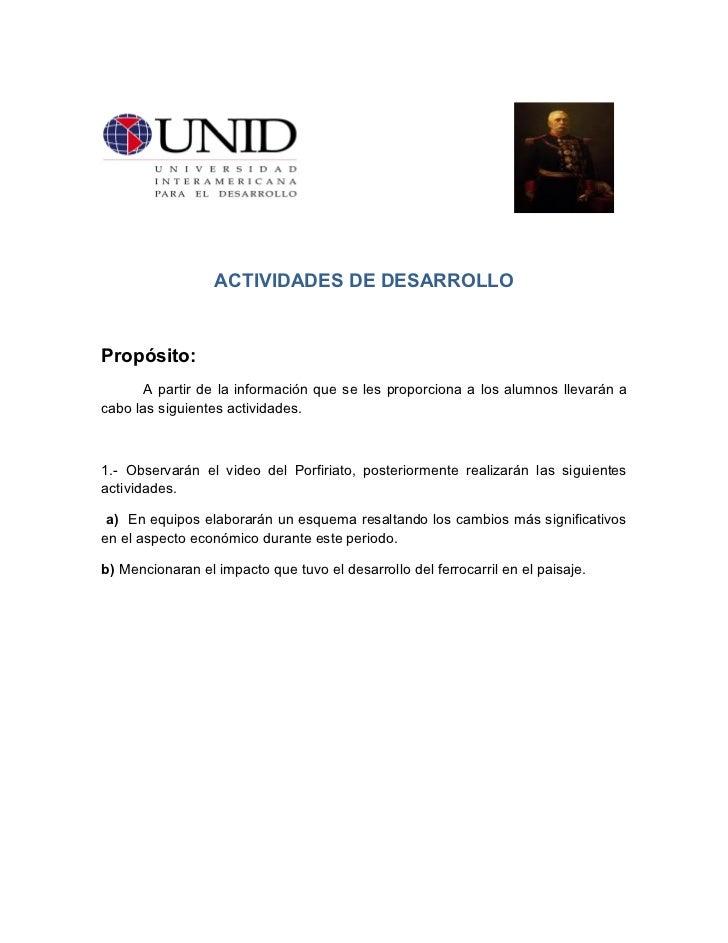 ACTIVIDADES DE DESARROLLOPropósito:       A partir de la información que se les proporciona a los alumnos llevarán acabo l...