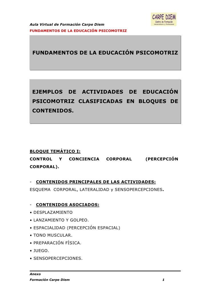 Aula Virtual de Formación Carpe DiemFUNDAMENTOS DE LA EDUCACIÓN PSICOMOTRIZ    FUNDAMENTOS DE LA EDUCACIÓN PSICOMOTRIZ    ...