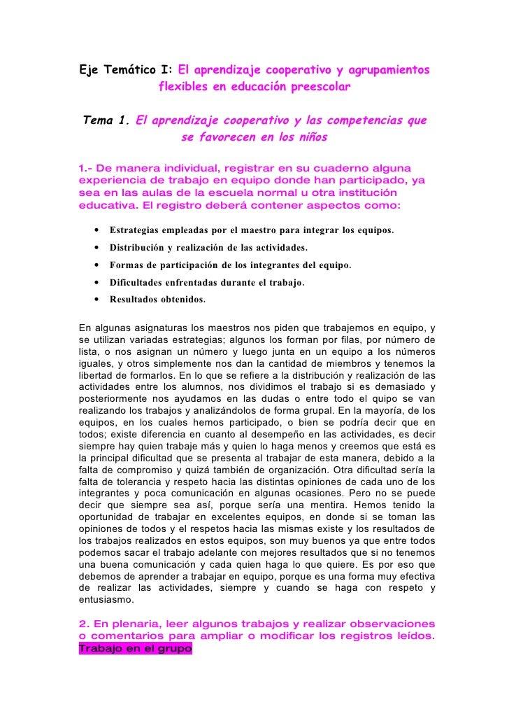 Eje Temático I: El aprendizaje cooperativo y agrupamientos             flexibles en educación preescolar  Tema 1. El apren...