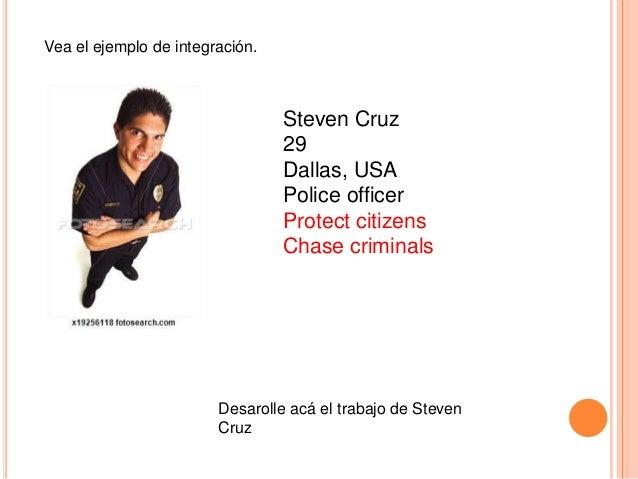 Vea el ejemplo de integración.  Steven Cruz 29 Dallas, USA Police officer Protect citizens Chase criminals  Desarolle acá ...