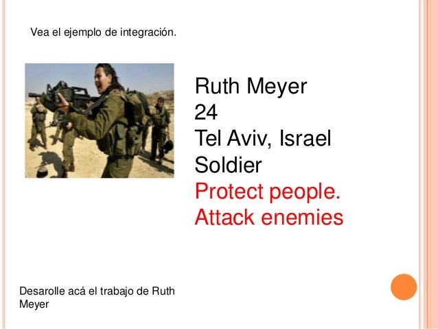 Vea el ejemplo de integración.  Ruth Meyer 24 Tel Aviv, Israel Soldier Protect people. Attack enemies  Desarolle acá el tr...