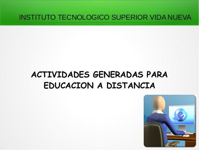 INSTITUTO TECNOLOGICO SUPERIOR VIDA NUEVA  ACTIVIDADES GENERADAS PARA  EDUCACION A DISTANCIA