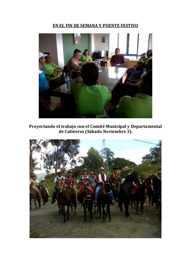 EN EL FIN DE SEMANA Y PUENTE FESTIVOProyectando el trabajo con el Comité Municipal y Departamental             de Cafetero...