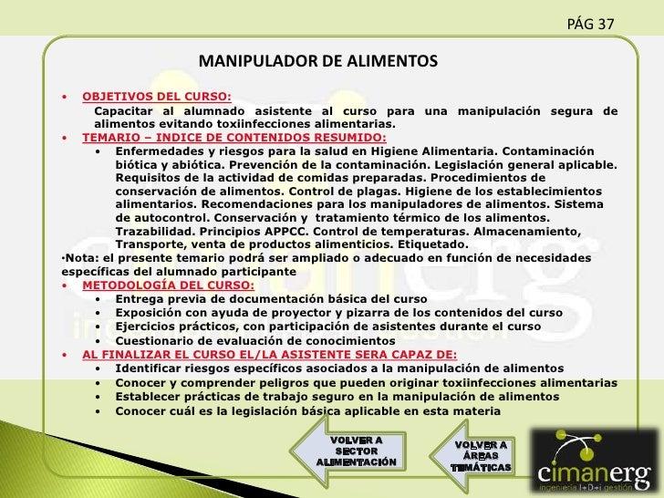 Actividades formativas cimanerg sept 2011 comercial - Temario curso manipulador de alimentos ...