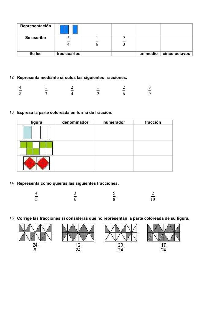 Actividades fracciones + solucionario
