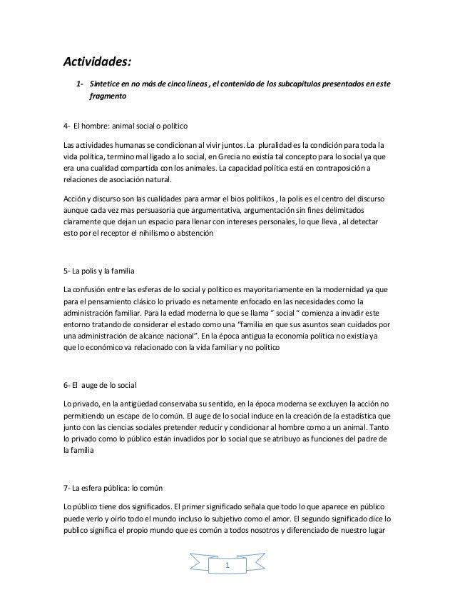 1 Actividades: 1- Sintetice en no más de cinco líneas , el contenido de los subcapítulos presentados en este fragmento 4- ...