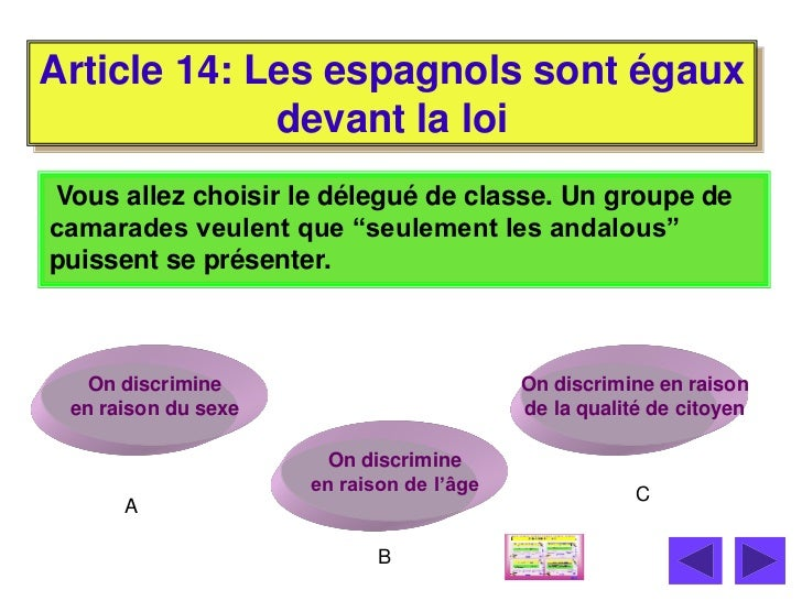 Article 14: Les espagnols sont égaux             devant la loiVous allez choisir le délegué de classe. Un groupe decamarad...