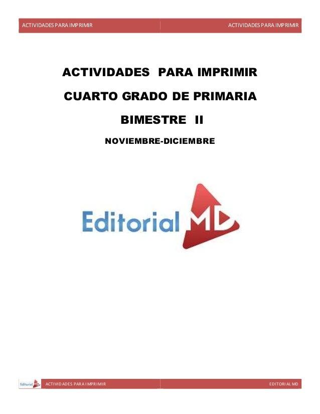 ACTIVIDADESPARA IMPRIMIR ACTIVIDADESPARA IMPRIMIR ACTIVIDADES PARA IMPRIMIR EDITORIAL MD ACTIVIDADES PARA IMPRIMIR CUARTO ...
