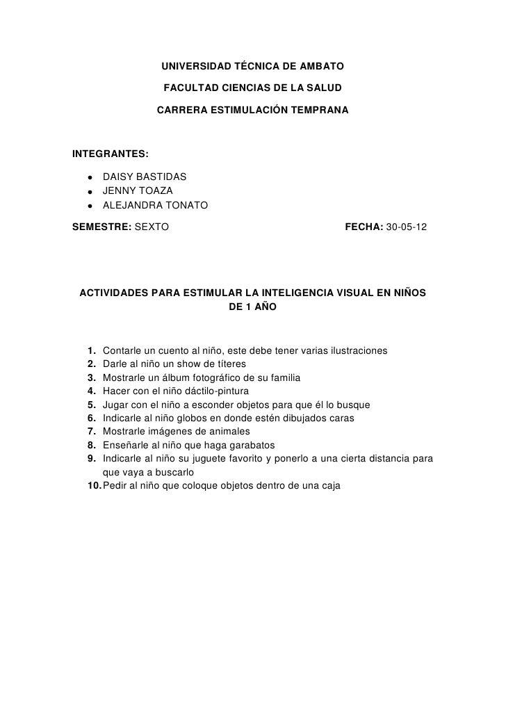 UNIVERSIDAD TÉCNICA DE AMBATO                   FACULTAD CIENCIAS DE LA SALUD                 CARRERA ESTIMULACIÓN TEMPRAN...