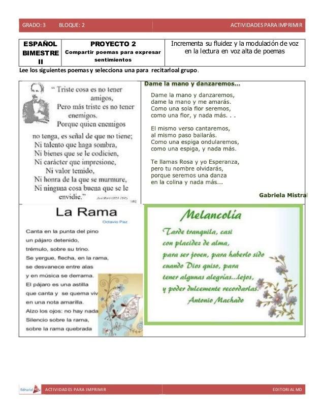 GRADO: 3 BLOQUE: 2 ACTIVIDADESPARA IMPRIMIR ACTIVIDADES PARA IMPRIMIR EDITORIAL MD ESPAÑOL BIMESTRE II PROYECTO 2 Comparti...