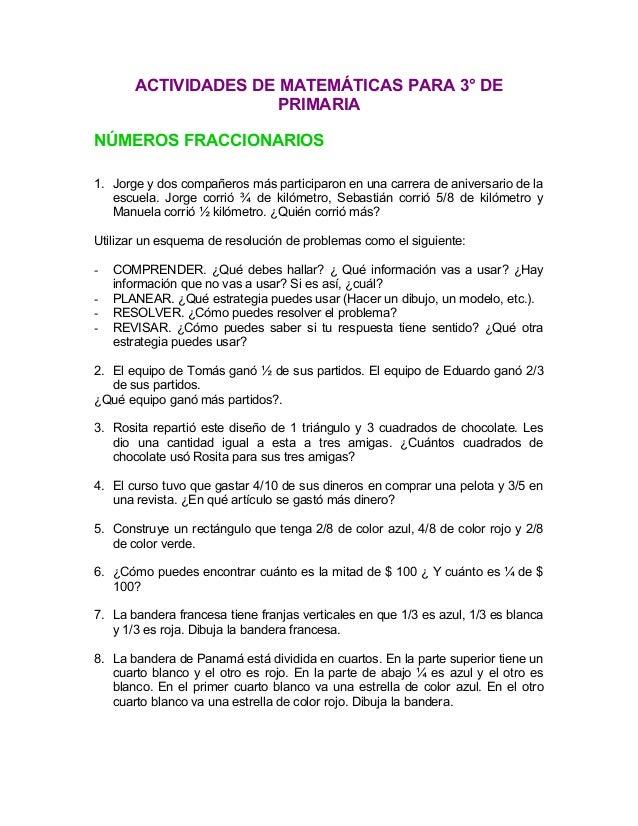 Actividades para tercero de primaria matemáticas