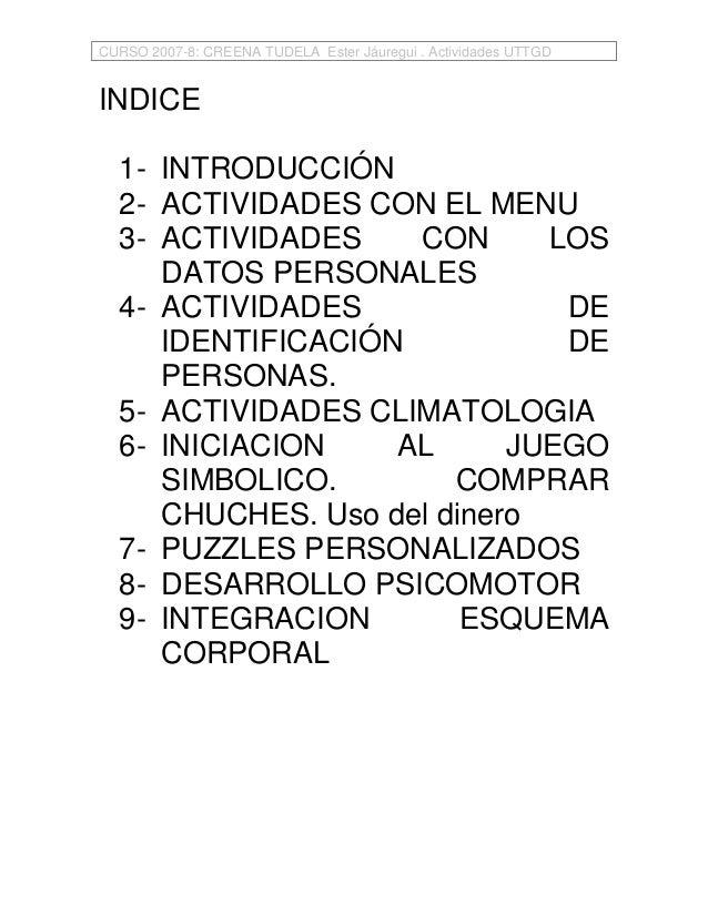 CURSO 2007-8: CREENA TUDELA Ester Jáuregui . Actividades UTTGDINDICE  1- INTRODUCCIÓN  2- ACTIVIDADES CON EL MENU  3- ACTI...