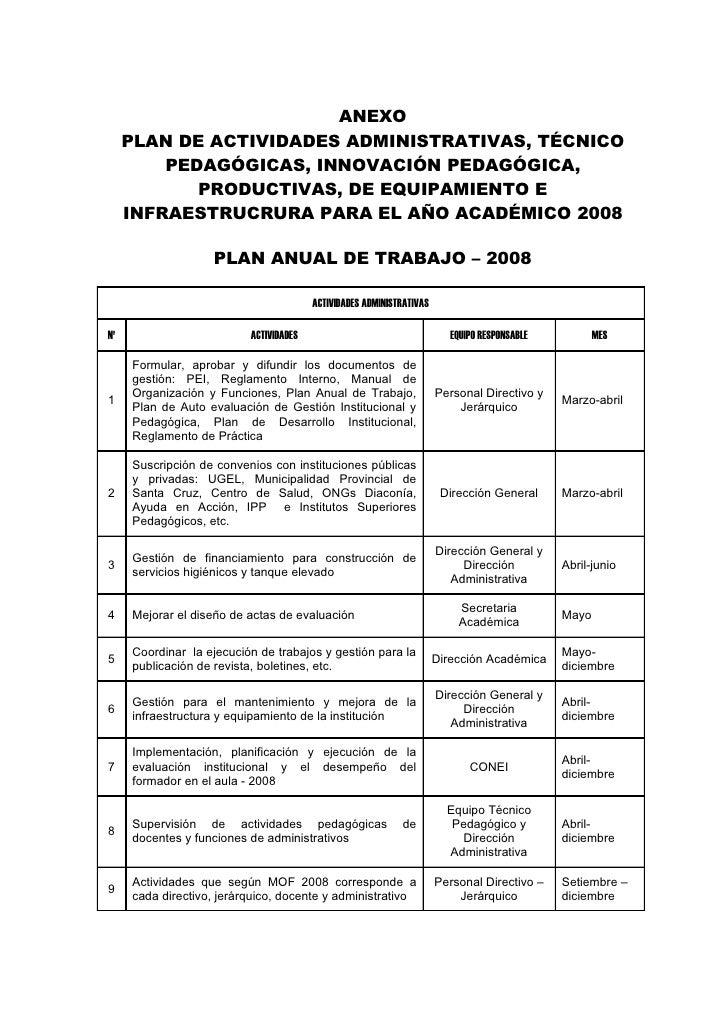ANEXO     PLAN DE ACTIVIDADES ADMINISTRATIVAS, TÉCNICO         PEDAGÓGICAS, INNOVACIÓN PEDAGÓGICA,            PRODUCTIVAS,...