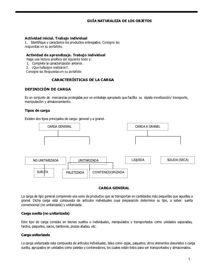 GUÍA NATURALEZA DE LOS OBJETOS  Actividad inicial. Trabajo individual  1. Identifique y caracterice los productos entregad...