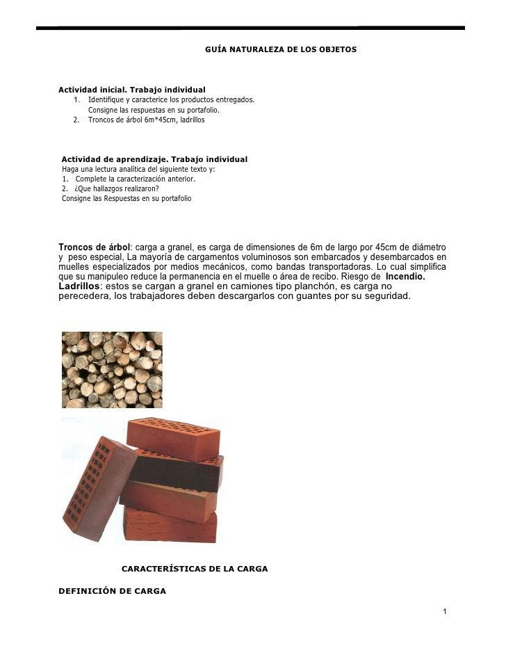 GUÍA NATURALEZA DE LOS OBJETOS    Actividad inicial. Trabajo individual     1. Identifique y caracterice los productos ent...
