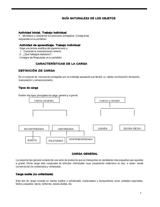GUÍA NATURALEZA DE LOS OBJETOS Actividad inicial. Trabajo individual 1. Identifique y caracterice los productos entregados...
