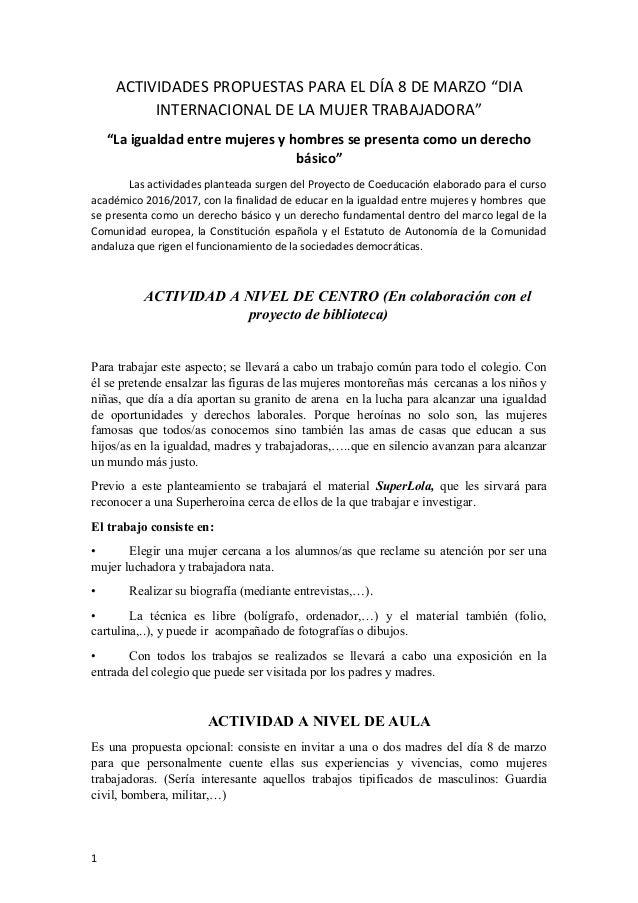 """ACTIVIDADES PROPUESTAS PARA EL DÍA 8 DE MARZO """"DIA INTERNACIONAL DE LA MUJER TRABAJADORA"""" """"La igualdad entre mujeres y hom..."""