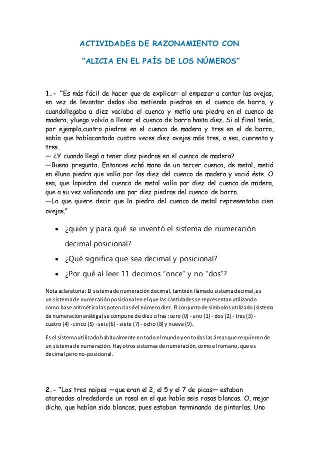 """ACTIVIDADES DE RAZONAMIENTO CON """"ALICIA EN EL PAÍS DE LOS NÚMEROS"""" 1.- """"Es más fácil de hacer que de explicar: al empezar ..."""