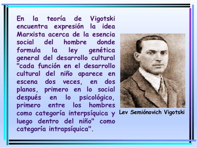 En la teoría de Vigotski encuentra expresión la idea Marxista acerca de la esencia social del hombre donde formula la ley ...