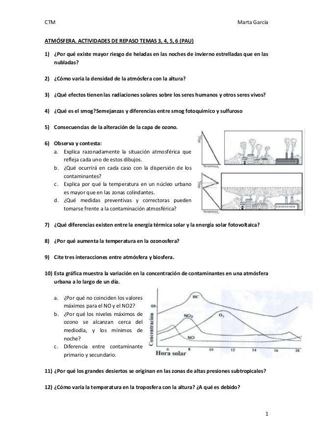 CTM Marta García 1 ATMÓSFERA. ACTIVIDADES DE REPASO TEMAS 3, 4, 5, 6 (PAU) 1) ¿Por qué existe mayor riesgo de heladas en l...