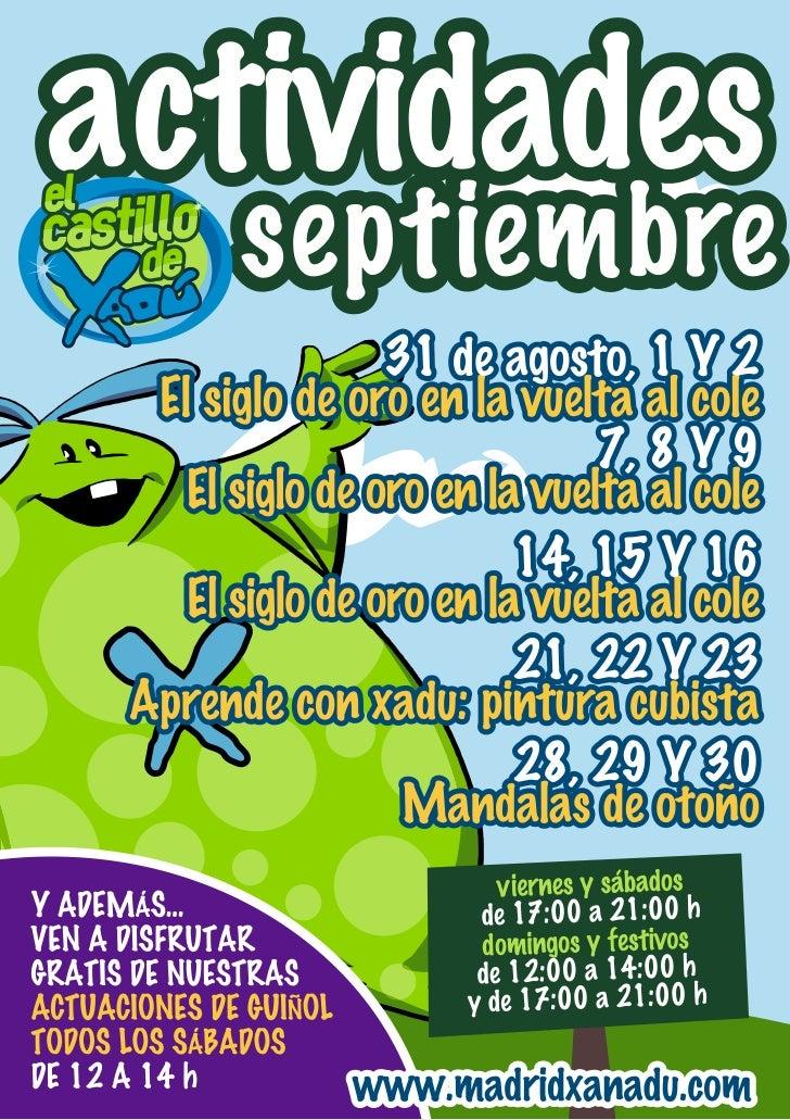 Actividades infantiles Xanadú - Septiembre