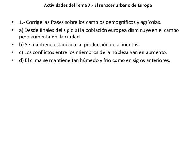 Tema 7 El Renacer Urbano De Europa Actividades