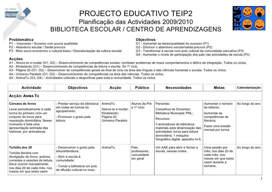 PROJECTO EDUCATIVO TEIP2                                      Planificação das Actividades 2009/2010                      ...