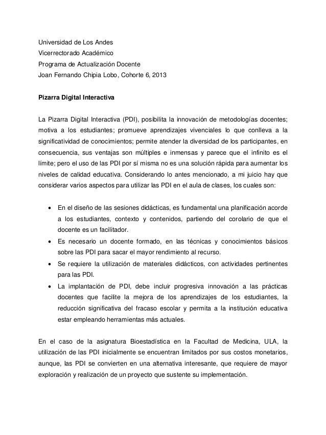Universidad de Los Andes Vicerrectorado Académico Programa de Actualización Docente Joan Fernando Chipia Lobo, Cohorte 6, ...