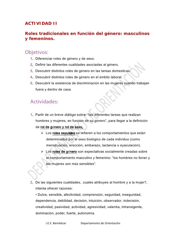 ACTIVIDAD II  Roles tradicionales en función del género: masculinos y femeninos.   Objetivos:   1. Diferenciar roles de gé...